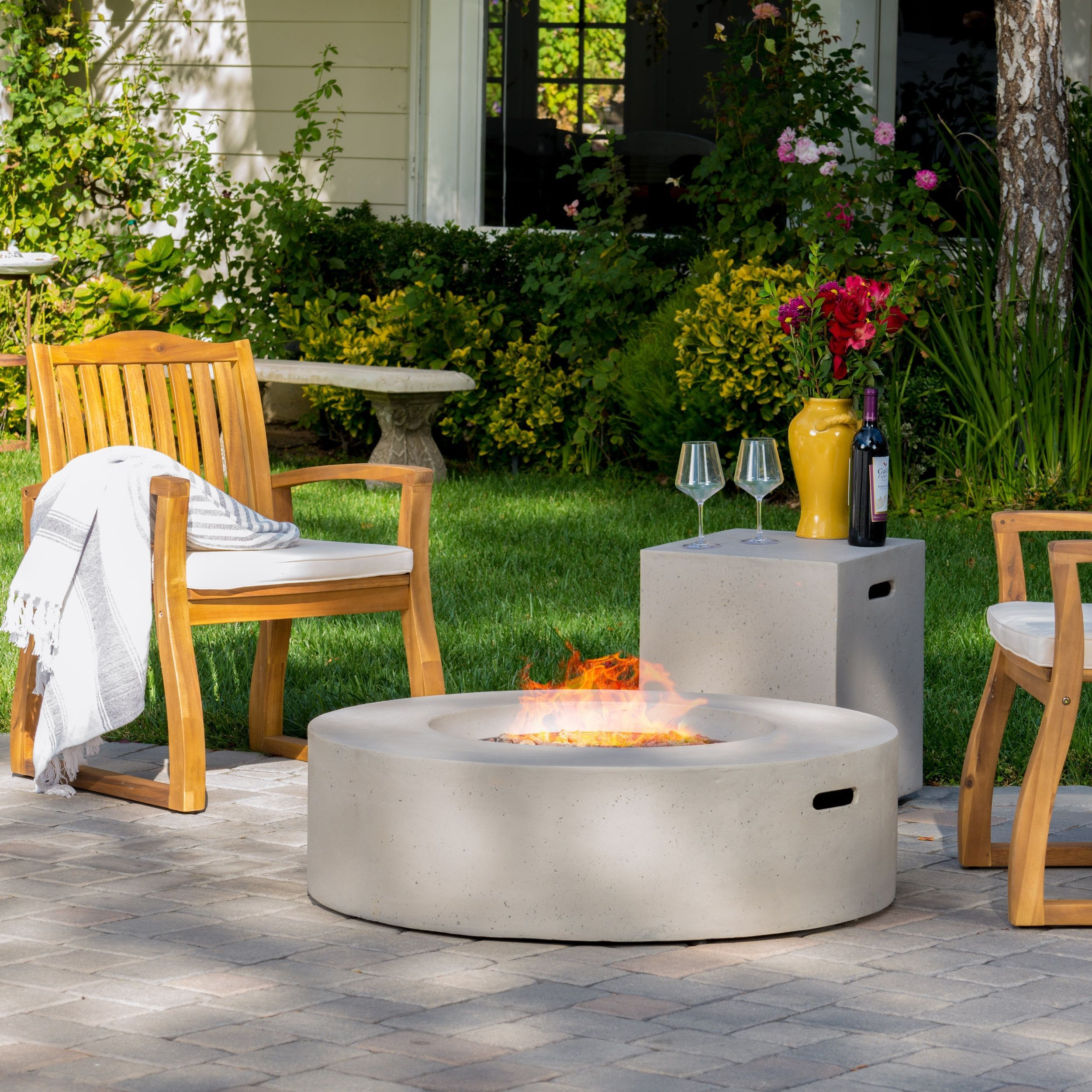 santos outdoor circular propane fire pit table with tank holder by