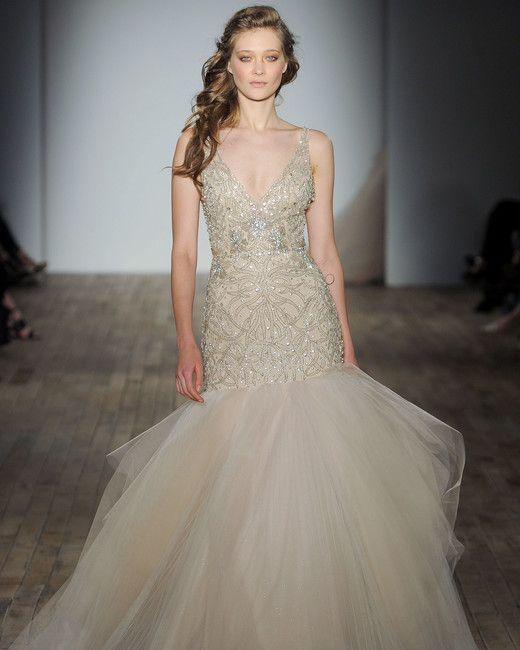 Lazaro Fall 2017 Bridal Sleeveless Thin Strap V Neck Heavily Embellished Bodice Gilitter Champagne Color Tulle Skirt Glamorous Elegant Mermaid Wedding Dress