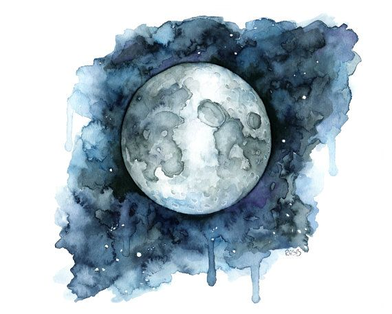 Watercolor Painting Moon Painting Moon Print Moon Phase Full