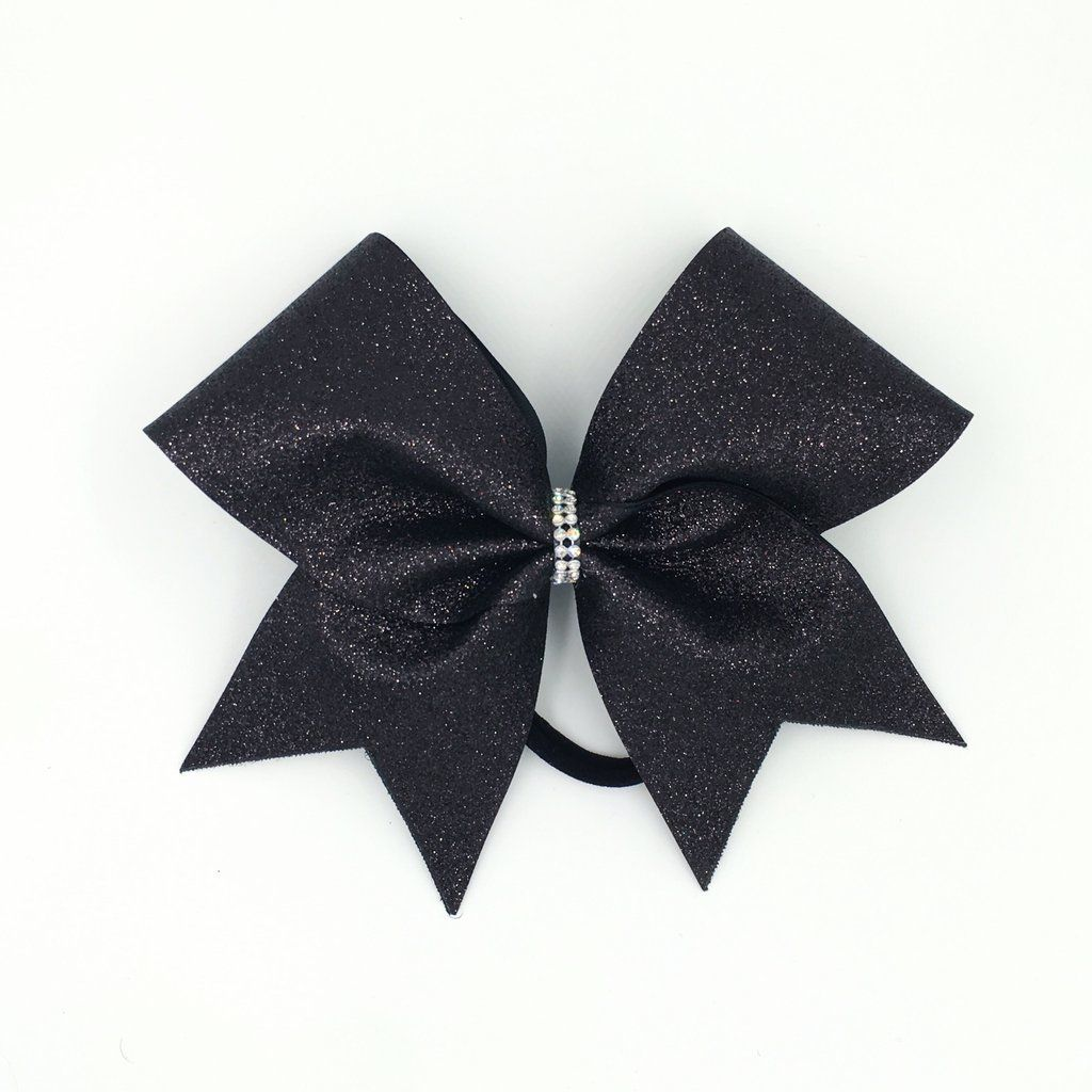 Cheer bow holder for cheer bows and hair bows cheer bow hanger - Black Glitter Cheer Bow