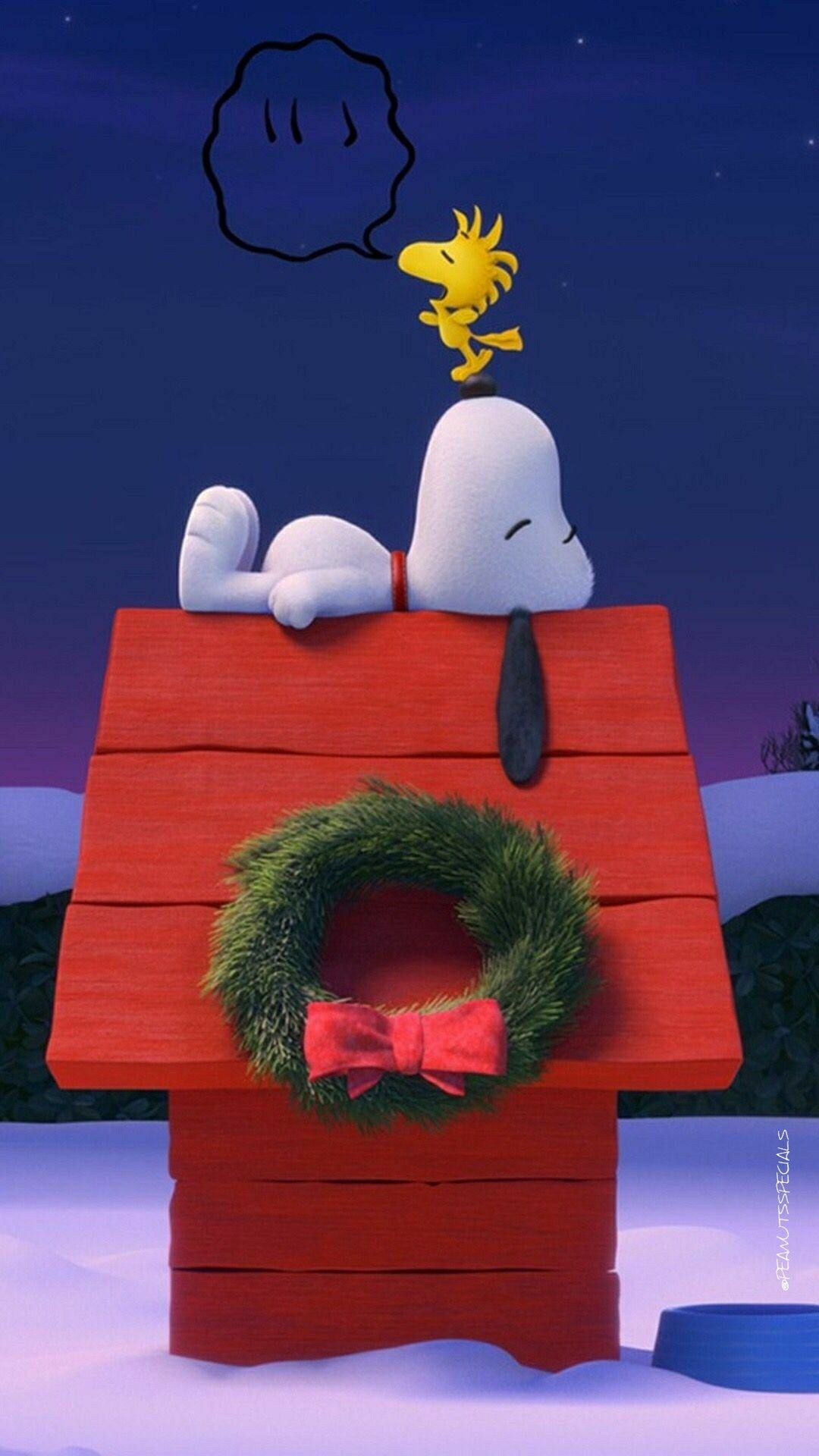 snoopy woodstock christmaswreath doghouse phone