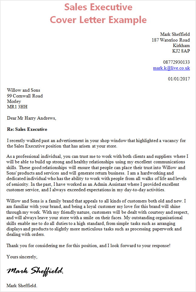 Cover Letter For Job Application Sales Executive  Sales Cover Letter Example