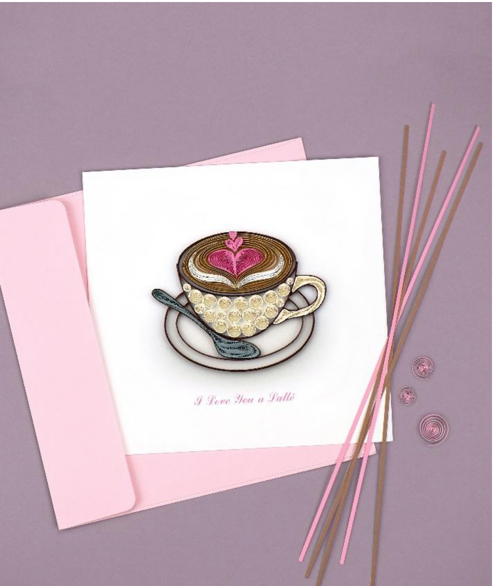 Tell that special someone you love them a latté this Valentine's Day. View our whole collection at www.quillingcard.com. #ValentinesDay #heart #coffeelovers #quillingcard #paperart #handmade #coffeelovers #fairtrade {Sponsored}