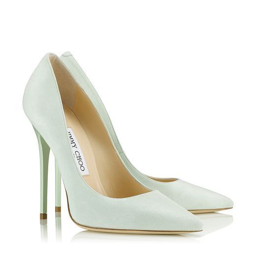 Key Lime Suede Pointy Toe Pumps   Anouk   Cruise 2013   JIMMY CHOO Cruise 14