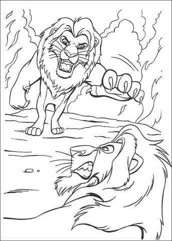 Fighting With Scar Coloring Page Lion King Drawings Horse