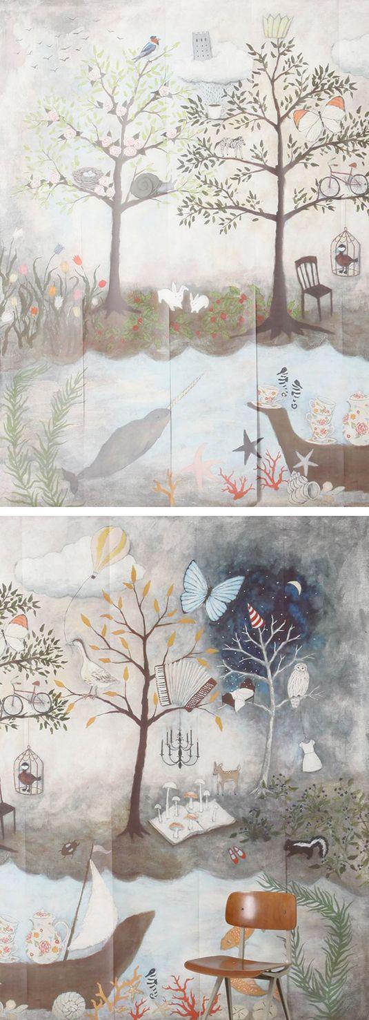 Anthropologie wallpaper   Nursery Spaces   Anthropologie wallpaper, Nursery wallpaper, Whimsical ...