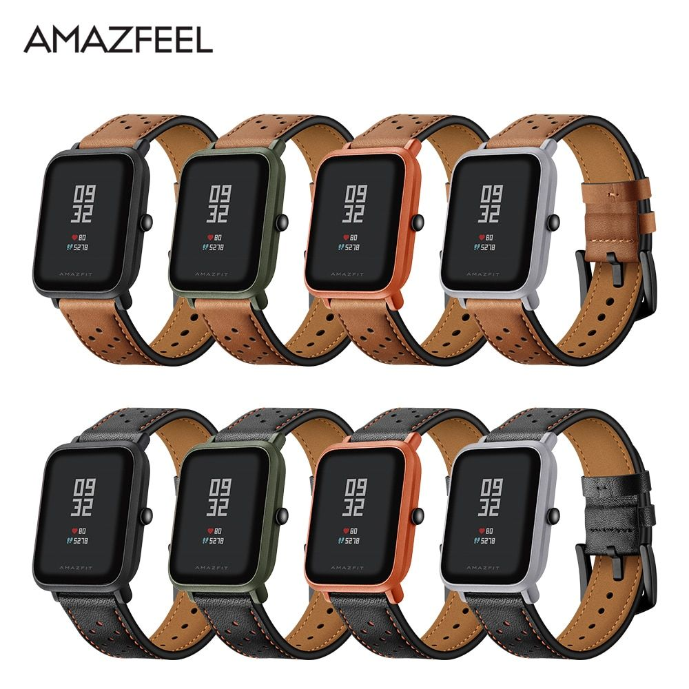 Amazfit Bip Band Leather For Original Xiaomi Huami Amazfit Smartwatch Youth Edition Huami Bip Bit Lite Watc Leather Watch Strap Watch Bands Genuine Leather