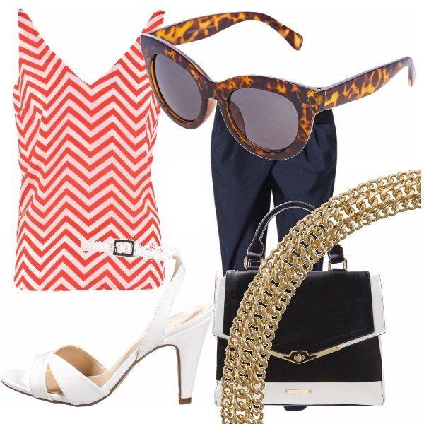 Semplice outfit da giorno per l'ufficio o per una bella passeggiata con le amiche: top optical bianco e rosso, leggero, comodo e pratico. Pantalone blu, tacco bianco, particolare borsa bianca e blu e un tocco glamour con la collana.