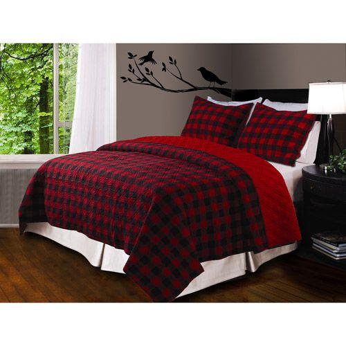 Walmart Global Trends Buffalo Plaid Quilt Set Red Black Plaid Bedding Bedroom Red Buffalo Plaid Bedroom