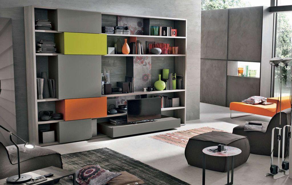 Parete attrezzata C155 per il #soggiorno moderno con inserti fluo ...