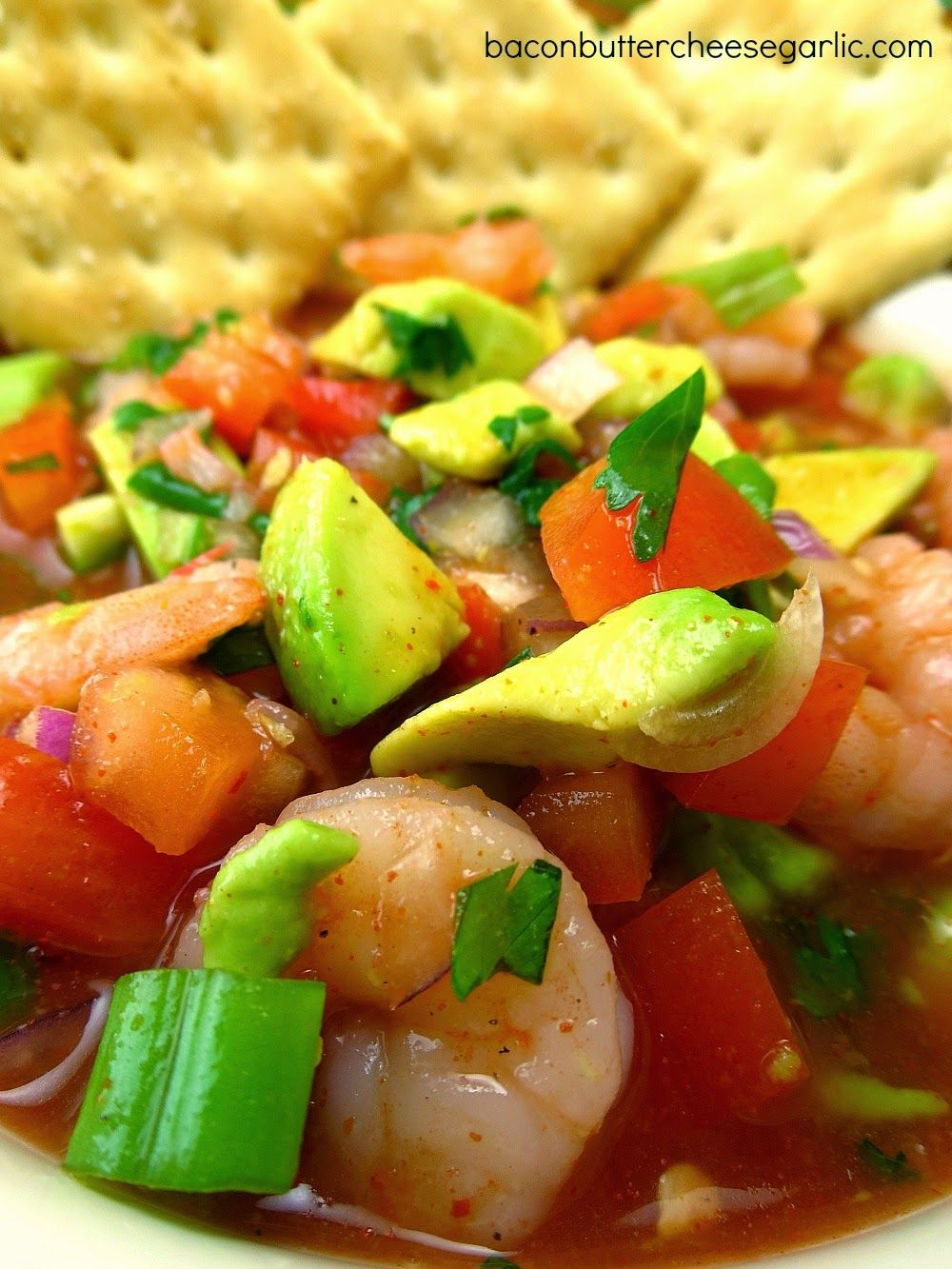 Mexican Shrimp Cocktail (Ceviche)...this is so fresh and yummy with a kick!  Great with Saltines! #mexicanshrimprecipes