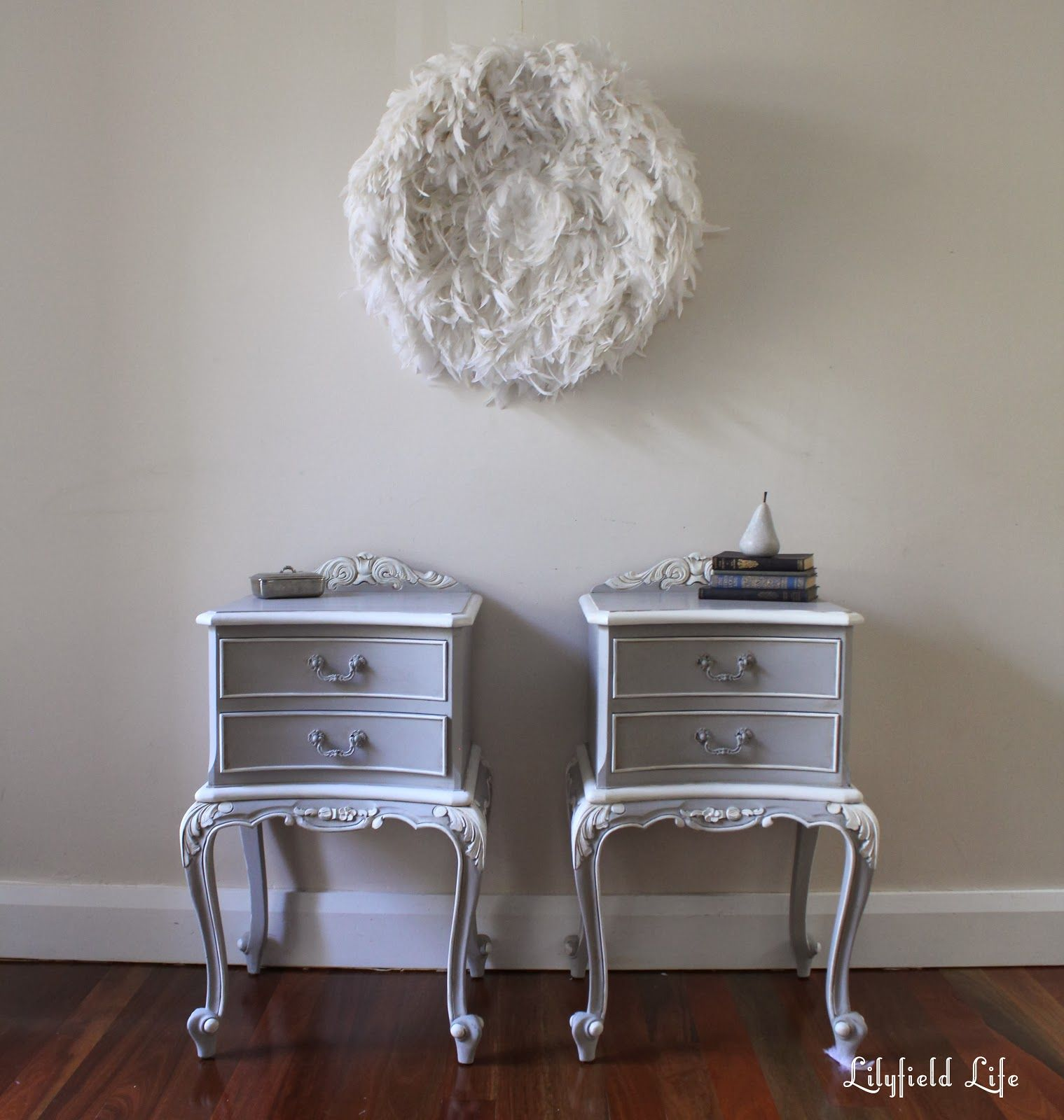 Painting ornate details antique french bedside tables ideas for antique french bedside tables painted by lilyfield life and my tips on painting ornate details ascp parisgrey white paint watchthetrailerfo