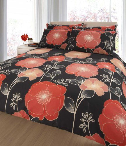 Amazing RED U0026 ORANGE POPPY PRINT DOUBLE DUVET COVER BED SET Design Ideas