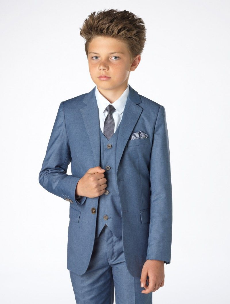 Boys blue chambray wedding suit - Sampson | Wedding suits, Chambray ...