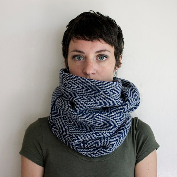 Infinity Scarf Knitted Scarf Circle Scarf Geometric Pattern Navy