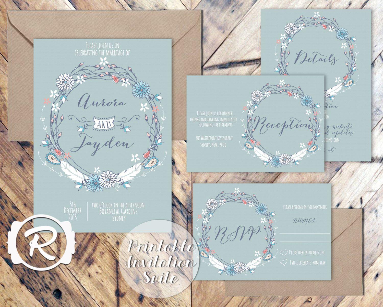 Printable Wedding Invitation Suite, Bohemian Blue Floral Wedding ...