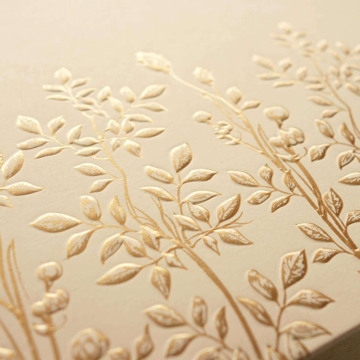 Foil emboss floral detail on luxe invitation Insta