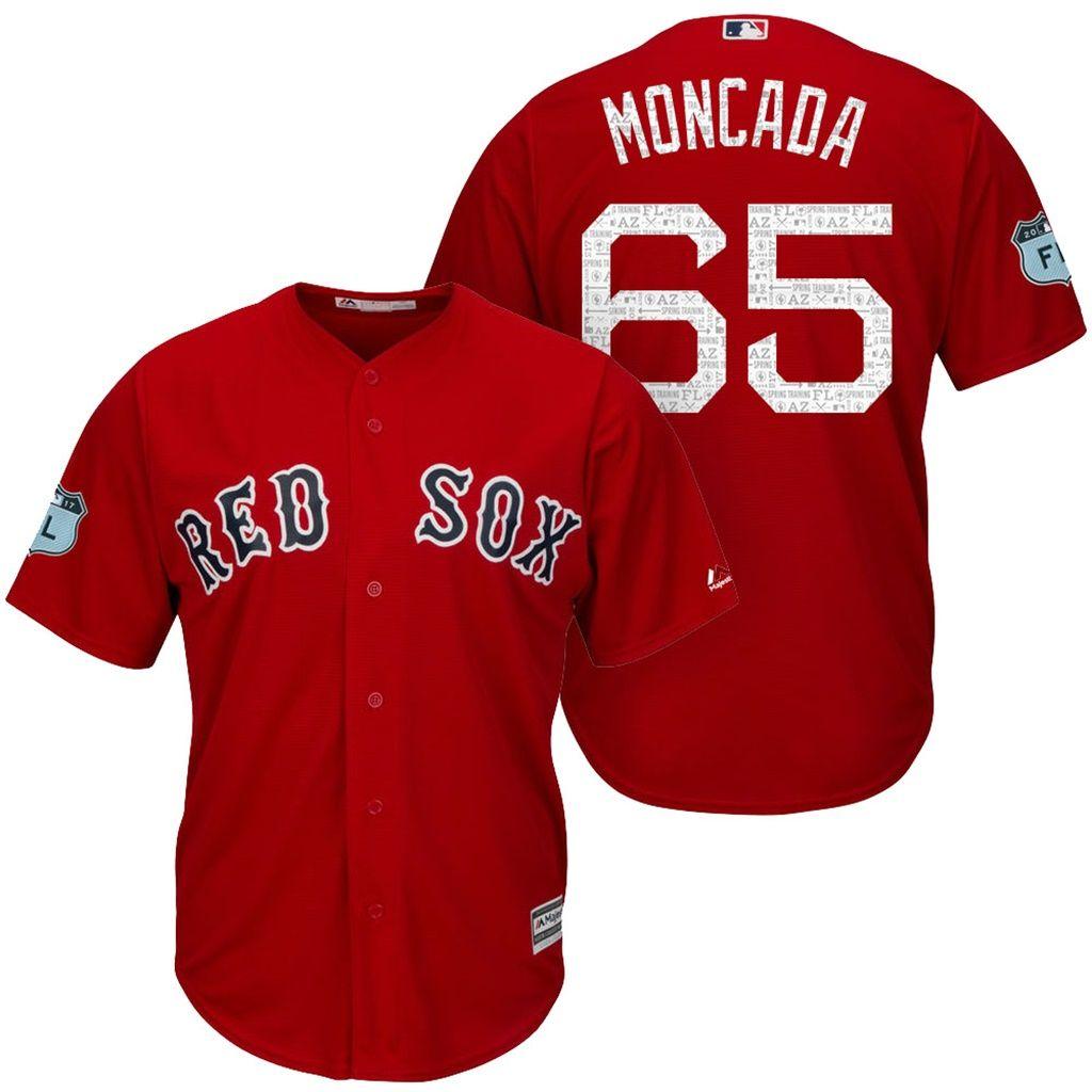 mens yoan moncada red sox 2017 spring training cool base jersey