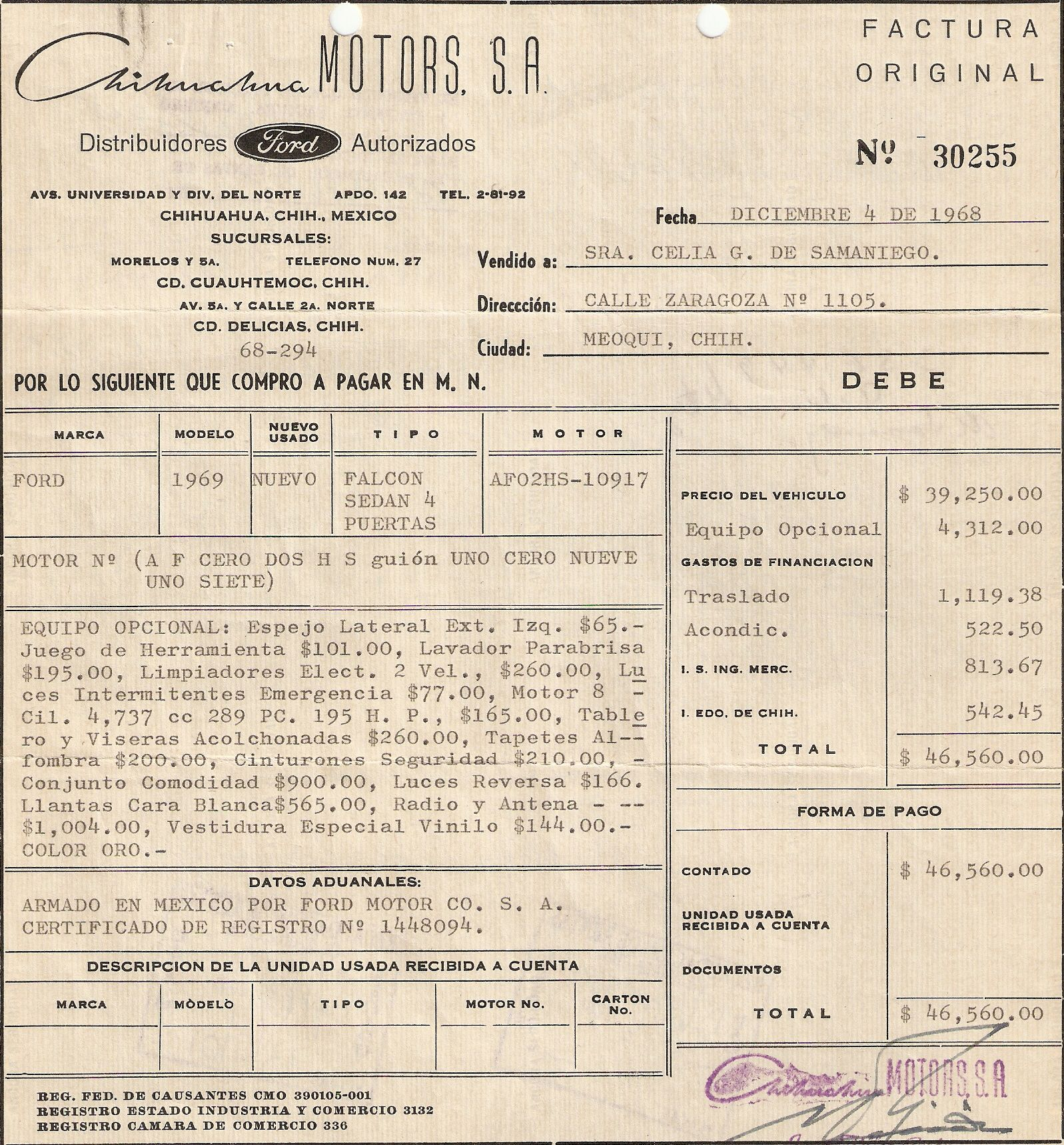 1969 Ford Falcon Invoice | My Driveway | Ford falcon, Ford, Cars