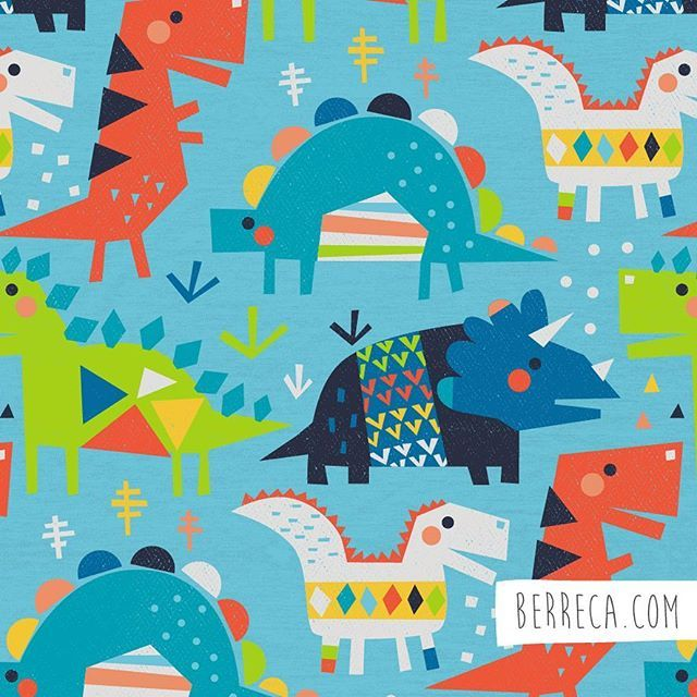 Geometric dinos#berreca #dino #dinosaurio #illustration #ilustracion #surface #surfacepattern #patterns #estampado #kidsfashion #dinosaurillustration
