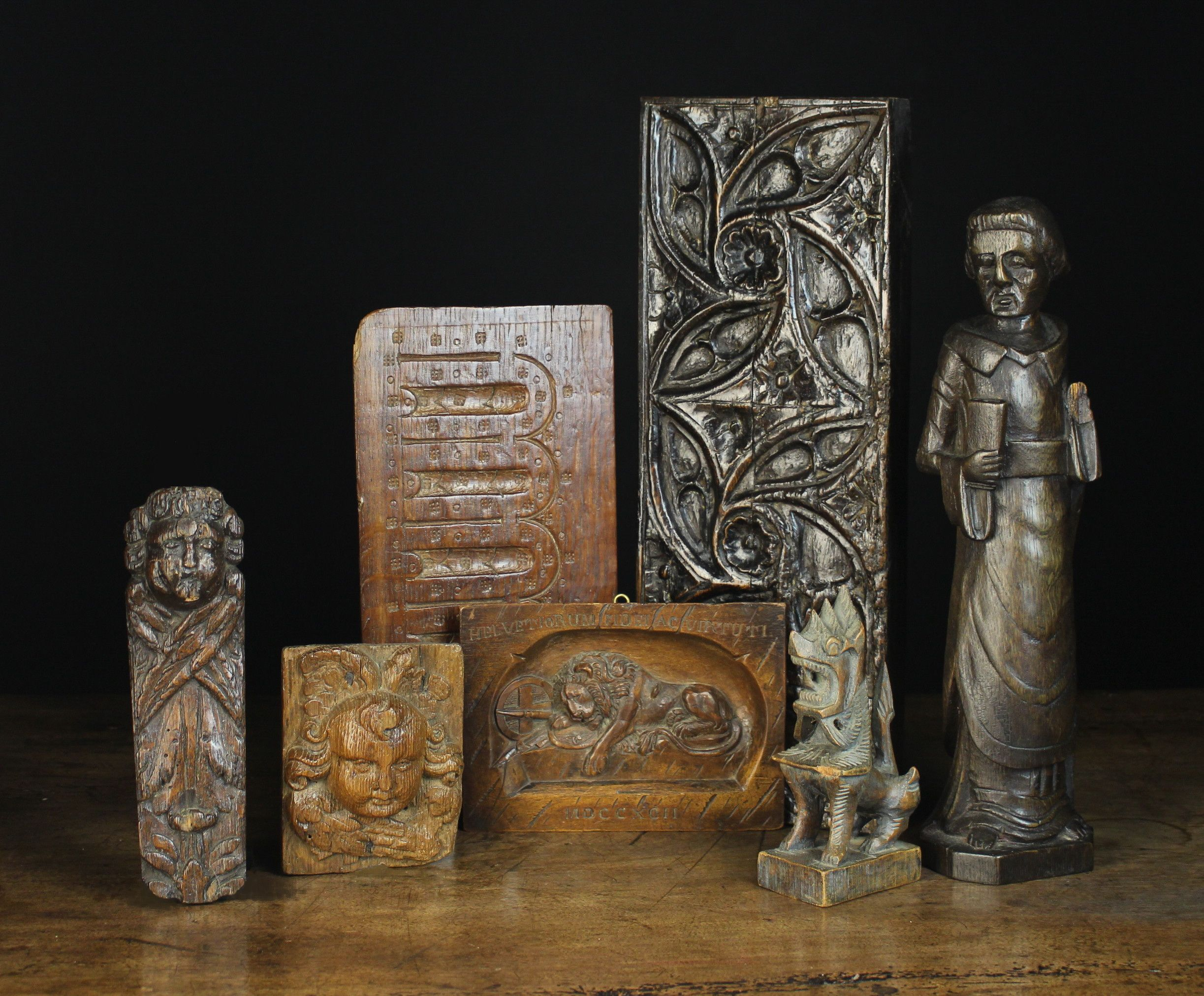 A Small Group Of Wooden Panels And Carvings Carving Oak Panels Small Groups