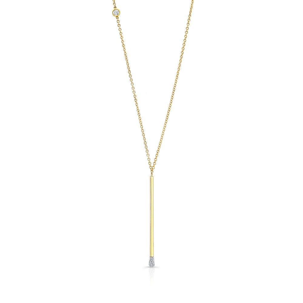 Fm matchstick necklace matchstick necklace accented with a bezel