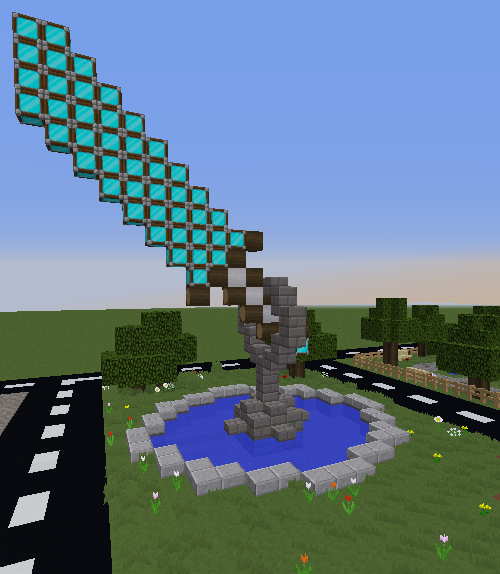 A Minecraft Diamond Sword built out by TweaksSolved.