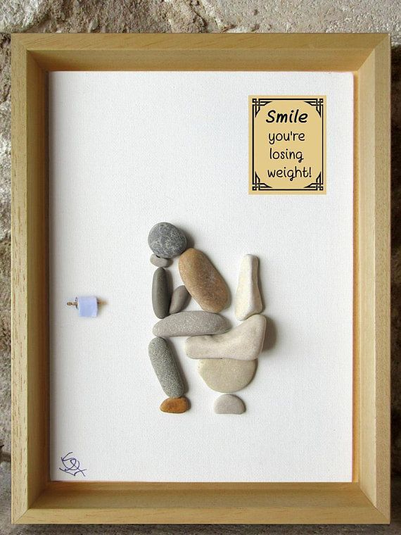 Photo of Pebble Art – Thinker in the loo with funny bathroom quotes – rude art – funny art – home decor gift