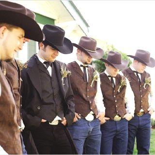 cowboy wedding party western wedding wear groomsmen in cowboy hats