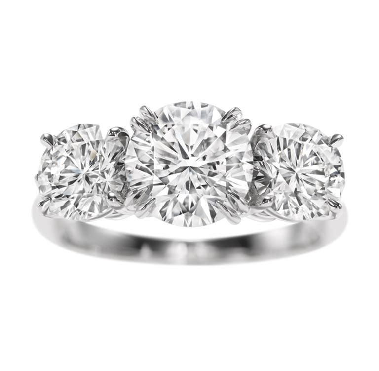 28b35539ccb8a Harry Winston Round Brilliant Three Stone Diamond Ring. The dream ...