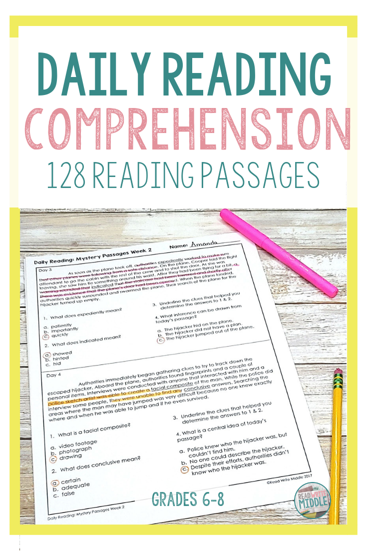 Middle School Reading Comprehension Passages Middle School Reading Comprehension Reading Comprehension Middle School Reading [ 1102 x 735 Pixel ]