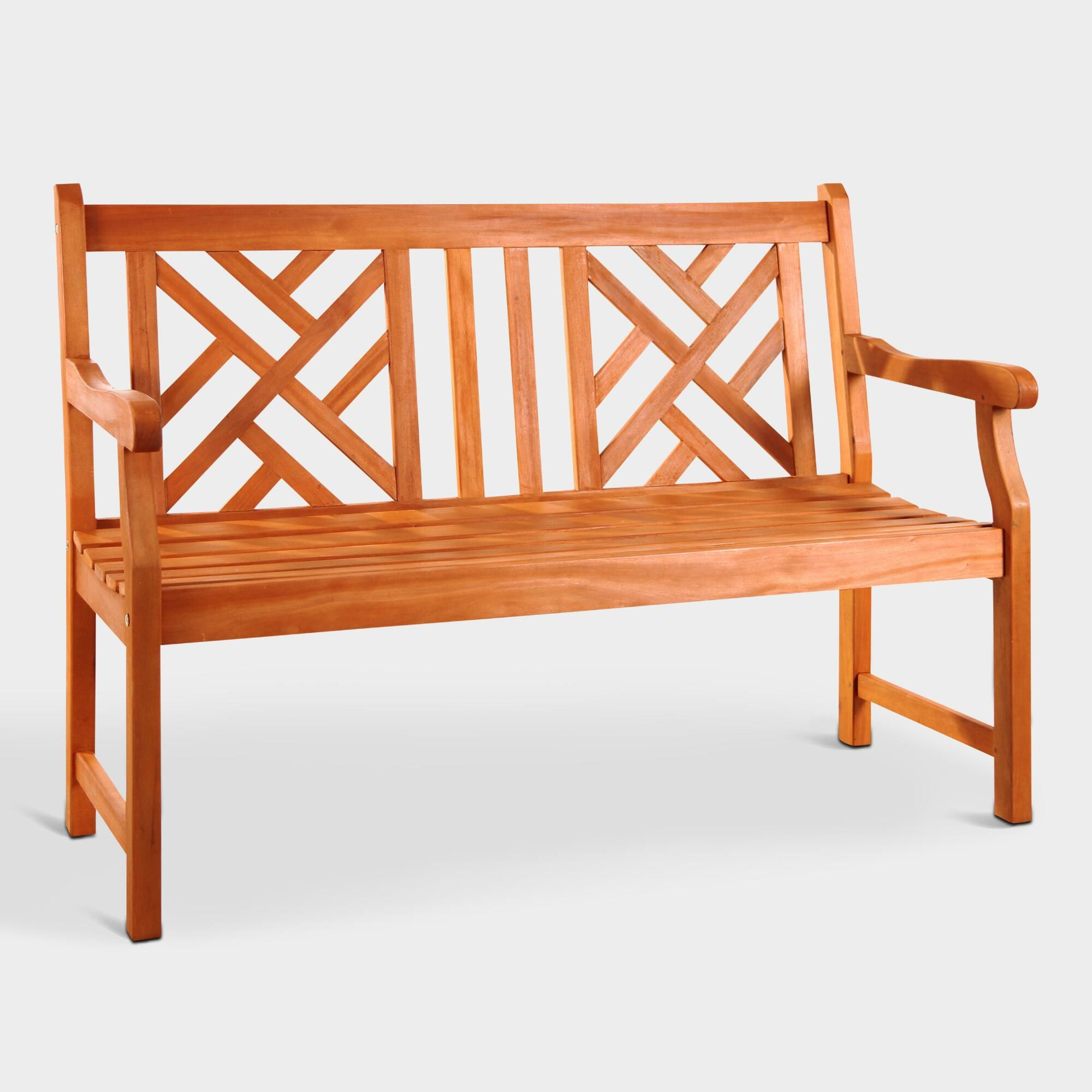 Small Eucalyptus Wood Mady Outdoor Patio Bench By World Market