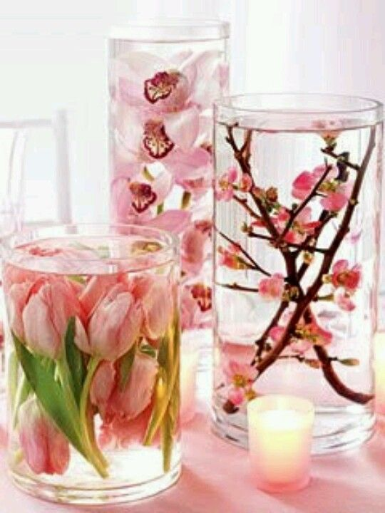 Pretty Fake Flowers In Water Vases Centerpiece Inspiration