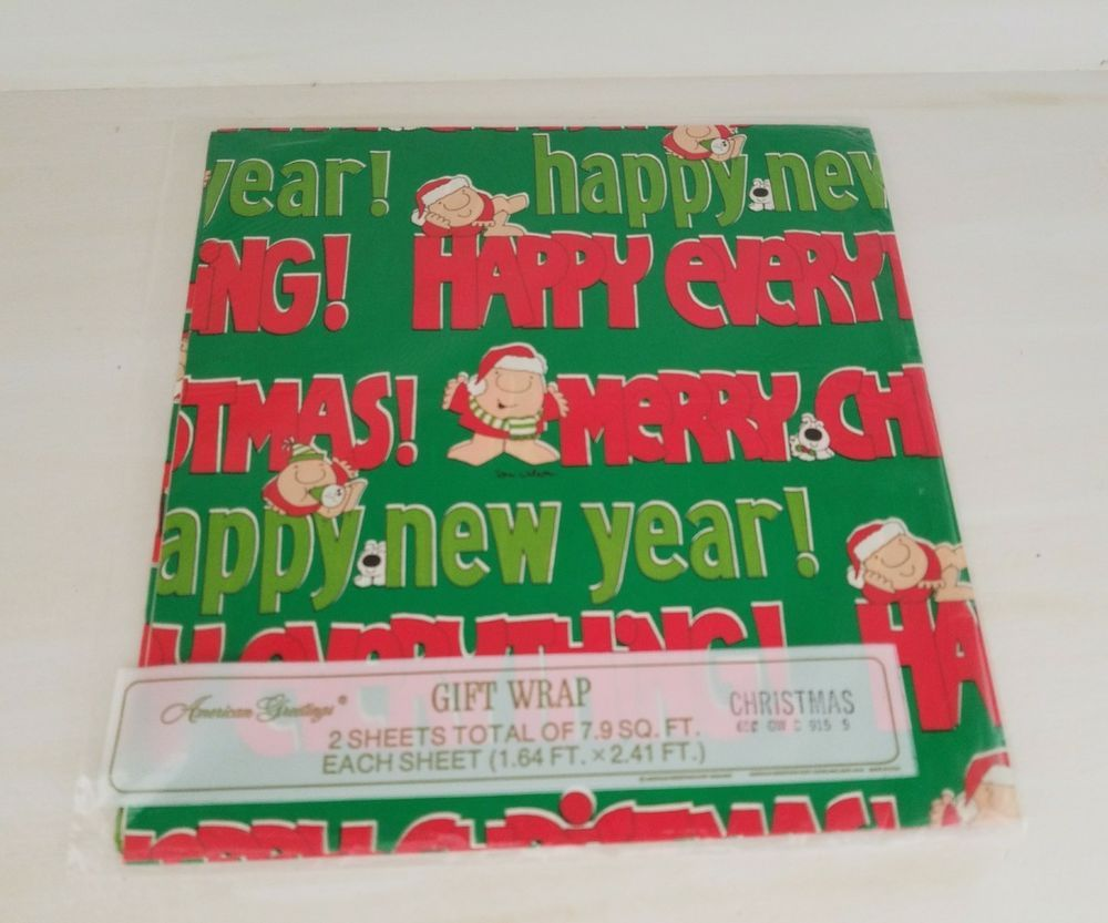 Vintage Ziggy Christmas Wrapping Paper Gift Wrap Sheets American
