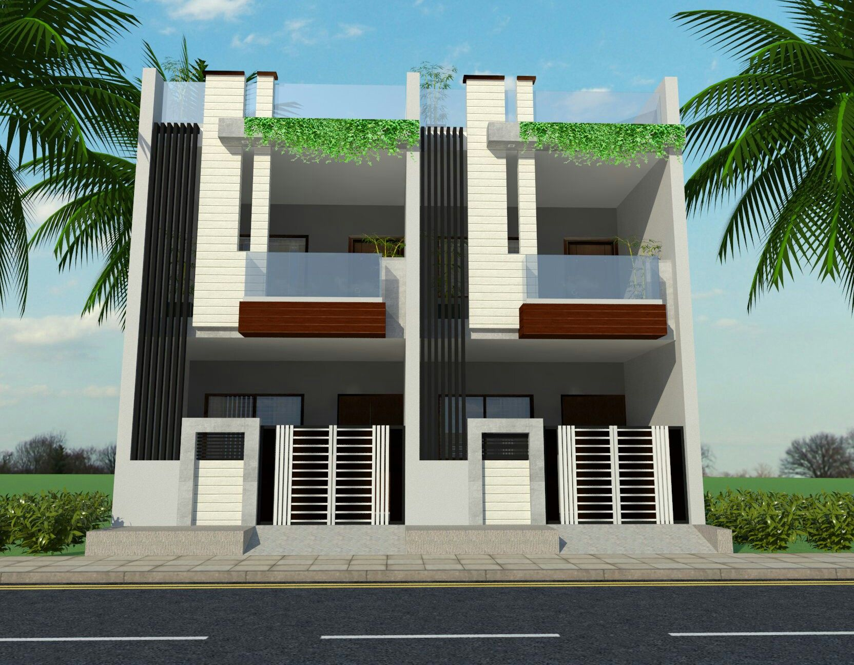 Row house ground first floor elevation modern house for Modern house 2 floor