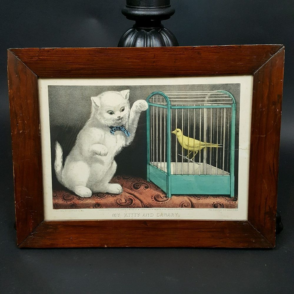 Currier Ives Hand Colored Lithograph My Kitty And Canary Antique Framed 1871 Antique Frames Currier And Ives Hand Coloring