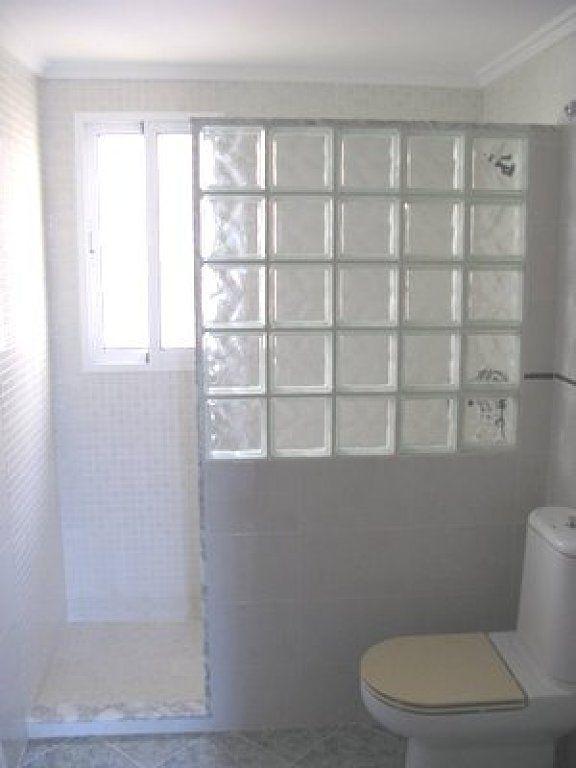 Mampara Con Pavés Diseño De Baños Chicos Ladrillos De Vidrio Cuartos De Baños Pequeños