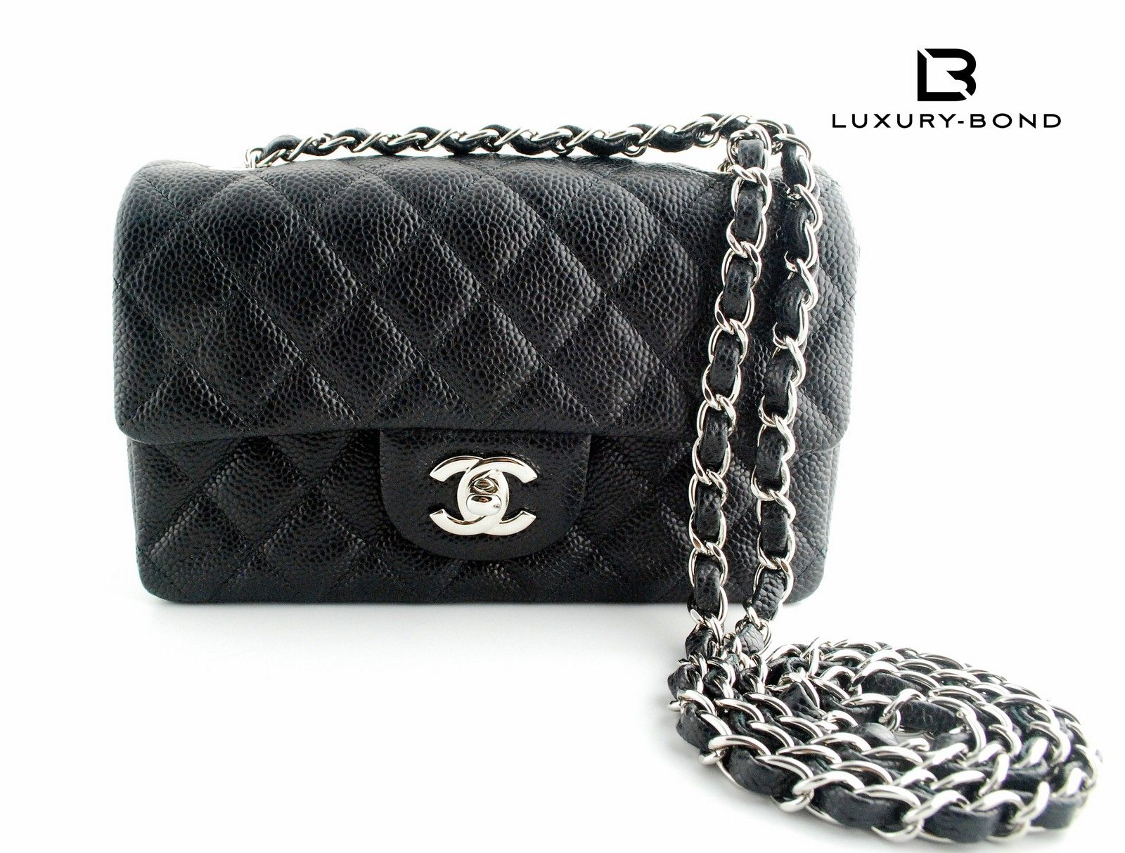 4caf5ee62a021a Chanel Black Caviar Mini Classic Flap with Silver Chrome Hardware  Rectangular Shape