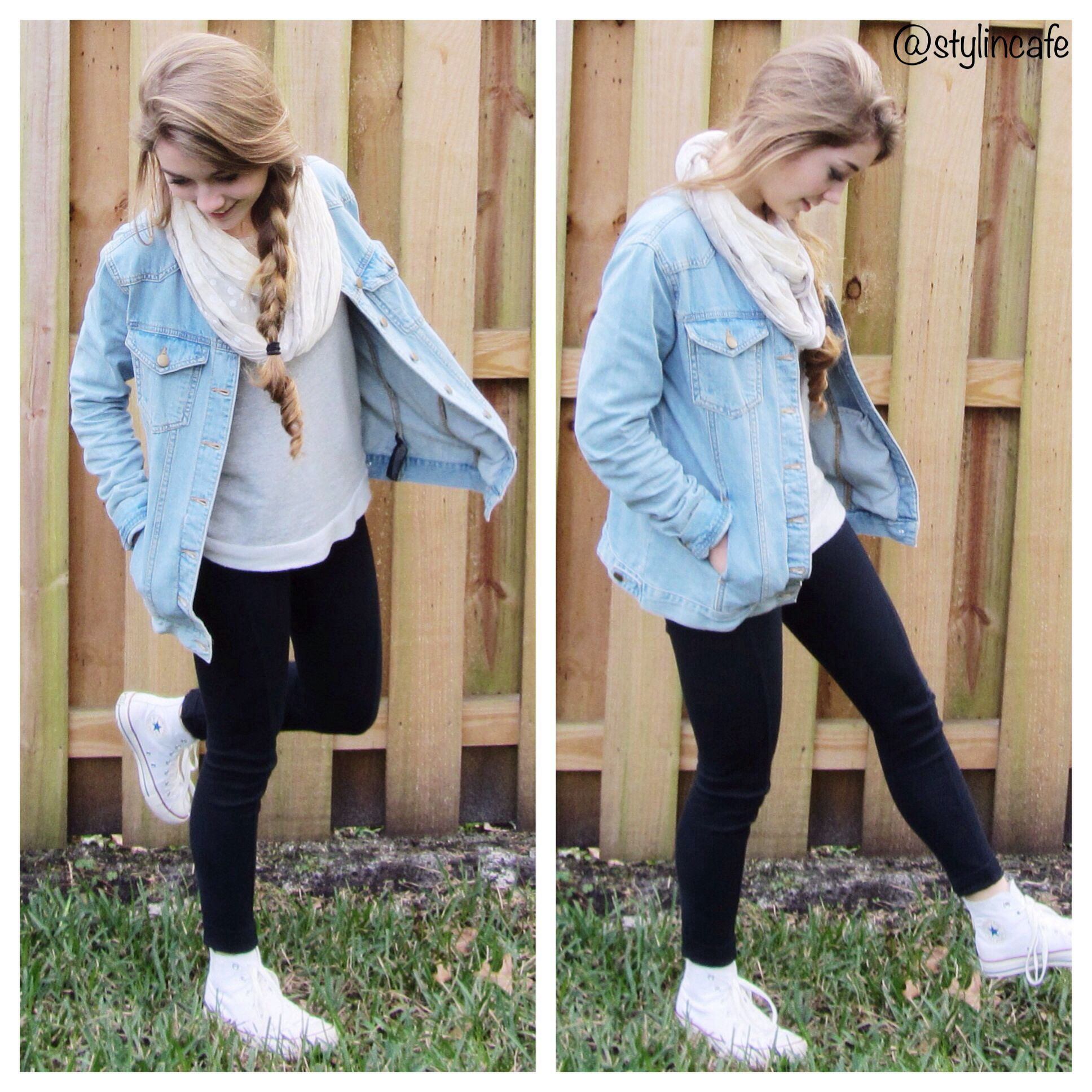 ed010a09930b49 White converse denim shirt and scarf Outfits With Converse