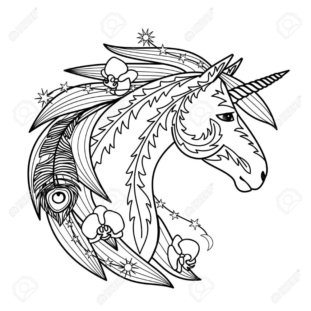 Ornamental Unicorn Horse Coloring Pages Unicorns Vector Vector Art Illustration