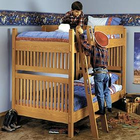 Plan Dp 00044 Arts And Crafts Bunk Bed Woodworking Plan Bed Woodworking Plans Woodworking Furniture Plans Woodworking Plans Diy