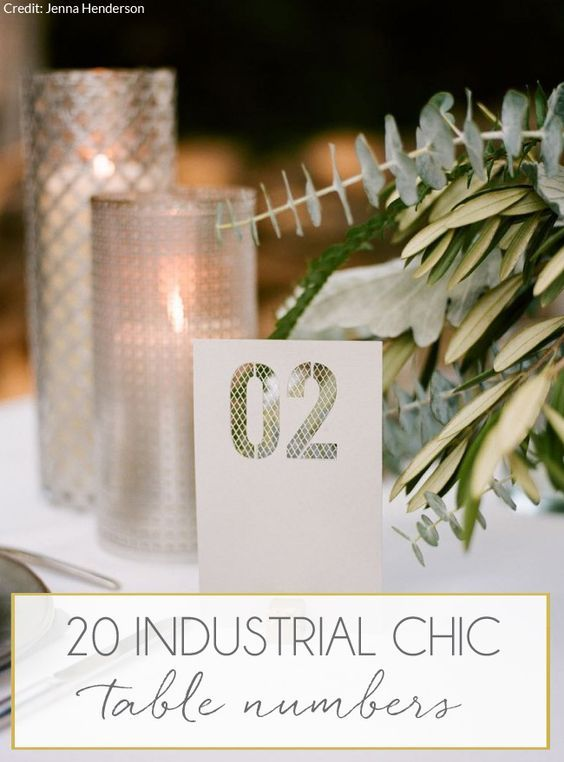 Industrial Chic Wedding Table Numbers: Metal | SouthBound Bride | http://www.southboundbride.com/industrial-chic-wedding-table-numbers | Credit: Jenna Henderson/Cedarwood Weddings via SouthBound Bride