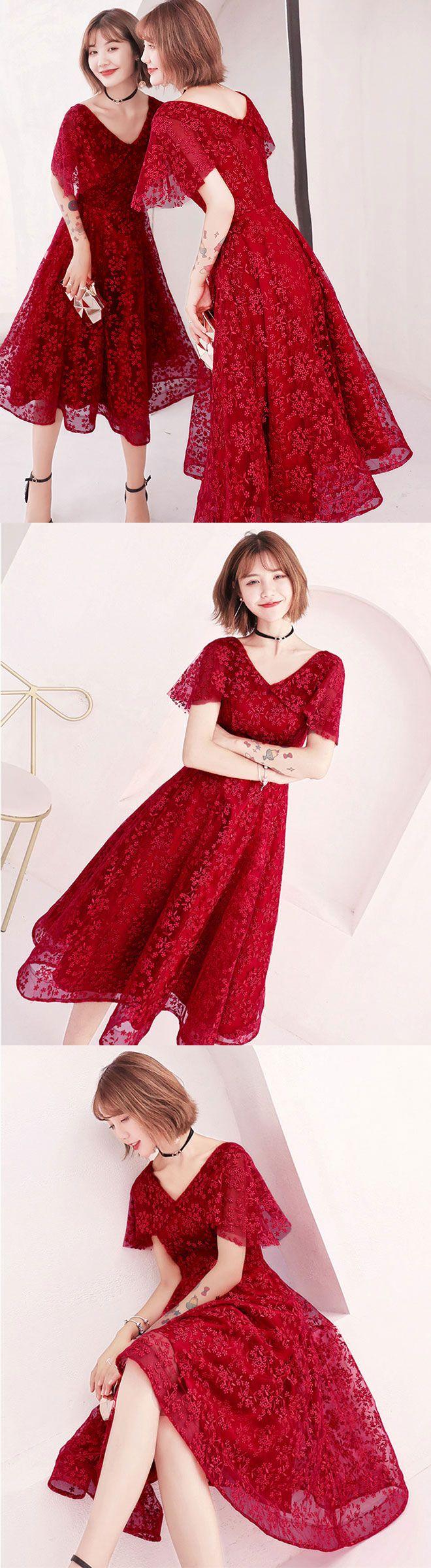 Cute lace short prom dress lace evening dress short prom dress