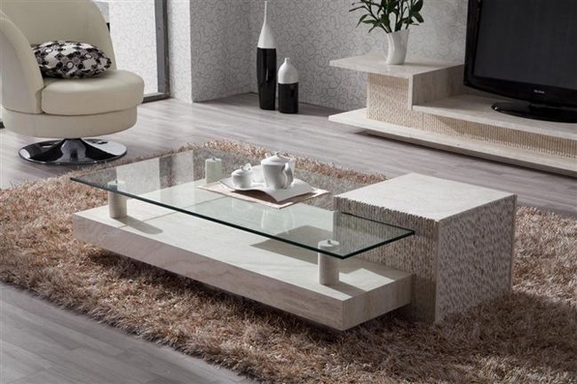 Durable Indoor Natural Stone Coffee Tables Design Ideas