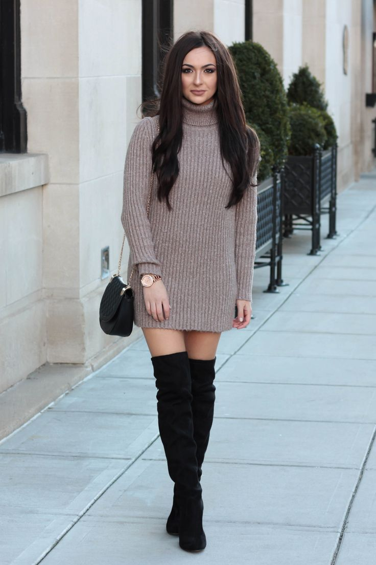 Wool Sweater Dress With Over Knee Boots Pretty Women Pinterest