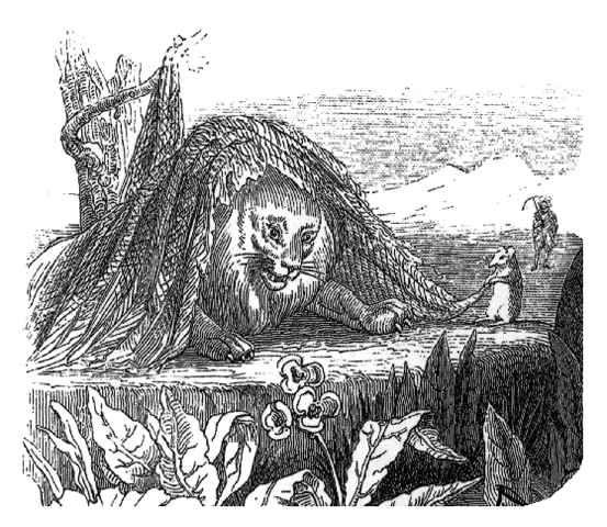 Fable de la fontaine illustration grandville le lion - Image le lion et le rat ...