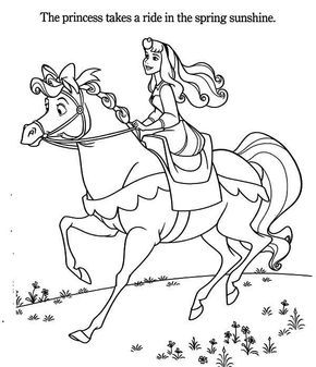 Princess Aurora Riding A Horse Coloring Page