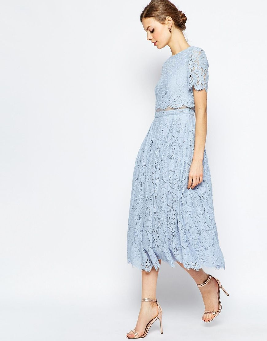 Image 1 of asos lace crop top midi prom dress bridesmaid for Baby blue wedding guest dress
