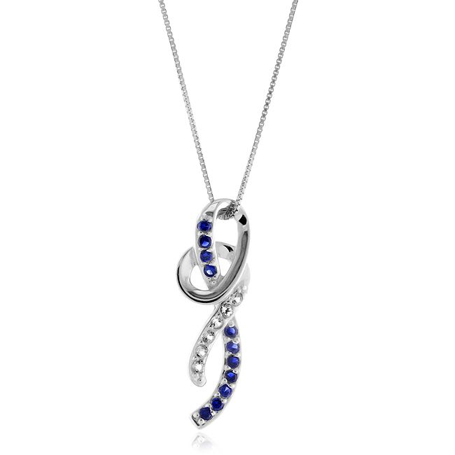 """1/2 Carat tw Blue & White Sapphire Pendant in Sterling Silver with 18"""" Chain"""