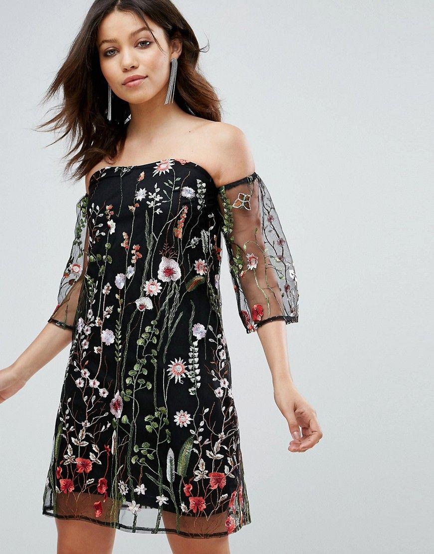 Parisian - Schulterfreies Kleid mit Blumenstickerei - Schwarz